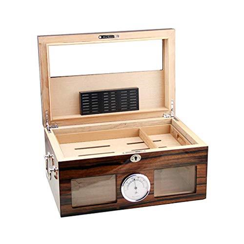 BXU-BG Caja de cigarrillo de doble capa de gran capacidad cigarro Gabinete espesado sellado importado madera de cedro de revestimiento de vidrio cubierta con higrómetro y humidificador temperatura con