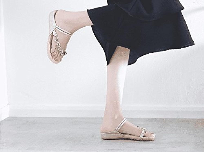 Awxjx Sommer Damen Flip Flops Flach mit Flach Pinch Oberbekleidung Künstliche Diamant Fu