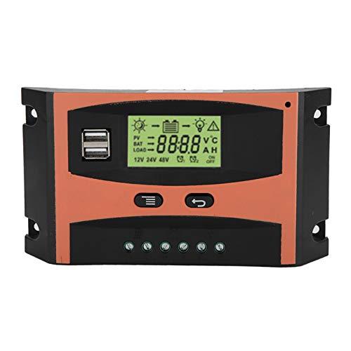 Controlador de carga solar 12V/24V MPPT Regulador de panel solar Pantalla LCD Controlador automático de batería Panel solar Regulador inteligente de batería con puerto USB dual(30A)