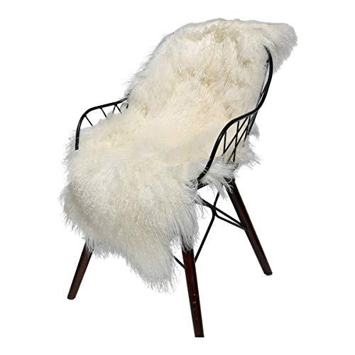 Hollert Lammfell Tibet Sheepskin Monglolisches Schaffell gelockt sehr weich Echtfell Dekoration Läufer Teppich Größe 90-100, Farbe Weiß