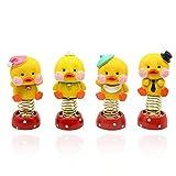 4 Pcs/Lots Duck Dolls Car Bobble Head Decorations Shaking Duck Figures Desktop Ornament Gift for Friends Home Shop Decor Yellow Duck Toy Car Ornament