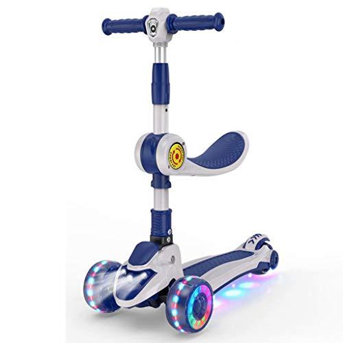 YLJJ Scooter para niños, de 3-6-8-12 años Scooter de Ruedas de Gran Altura Ajustable, Pedal de bebé de un Solo pie Tres en uno, Asiento Azul +