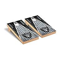 Victory Tailgate Regulation NFL Triangle Weathered Series Cornhole Board Set - 2 Boards, 8 Bags - Las Vegas Raiders