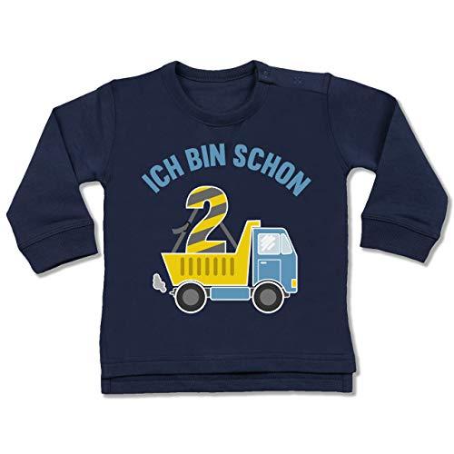Shirtracer Geburtstag Baby - Ich Bin Schon 2 LKW - 18/24 Monate - Navy Blau - ich Bin 2 Langarm - BZ31 - Baby Pullover