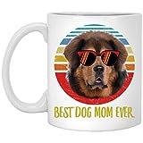 N\A Divertido Mejor mastín Tibetano marrón Rojo mamá Siempre Puesta de Sol Retro Taza de café 11 oz