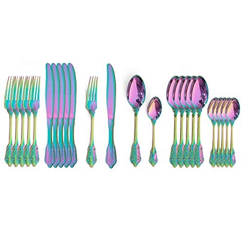 24pcs Silver Silver Cutlery Set Cuchillo de cena de acero inoxidable Cuchara de la cucharada Setware Set Service 6 Western Vajilla Set (Color : 24Pcs Rainbow)