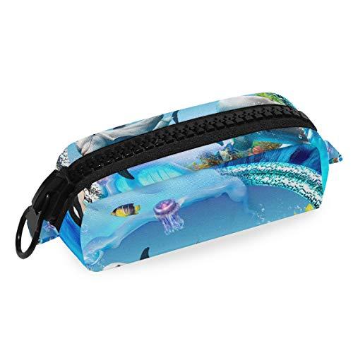 DEZIRO Make-up-Tasche, Reise-Kosmetiktasche, Delfin-Pinguin, Gelee, Aquarium für Frauen Mädchen Make-up Pinsel Tasche