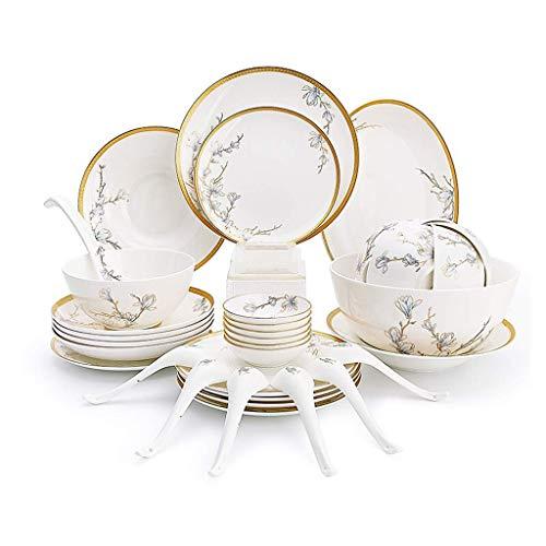Mzxun Cerámicas de vajilla de 36 piezas, Tazón/Plato/Cuchara | Bone China Las vajillas, magnolia del patrón de porcelana conjunto combinación de