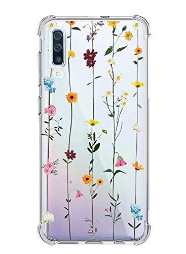 Suhctup - Carcasa para Samsung Galaxy A10S, transparente, diseño de flor [antigolpes]