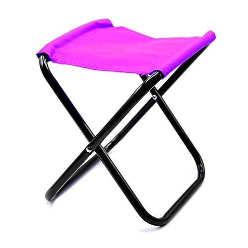 HAC24 Mini Klappstuhl Sitzhocker Campingstuhl Klapphocker Falthocker Angelhocker (Pink)