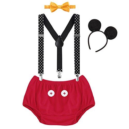FYMNSI Infantil Bebé Niño Primer Traje de Cumpleaños Cake Smash Outfit Pantalones Cortos Tirantes Elásticos y Ajustables Pajarita Ratón Oreja Diadema Set de 4 Piezas Sesión de Fotos Rojo 12-18 Meses