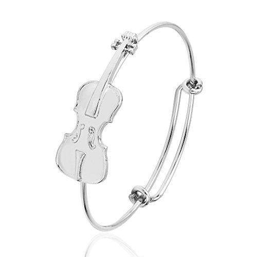 SENFAI Music Lover Violin Stretch Bangle Bracelet Jewelry Gifts (Silver)