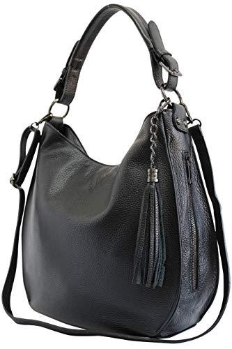 AmbraModa Italiensche Damenhandtasche Schultertasche Hobo Bag aus Echtleder GL026 (Schwarz)