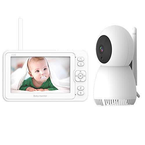 EnweOil Monitor de Bebé Inteligente con Pantalla LCD de 5', Camara vigilancia BEB, VOX, Giratorio de 360, Comunicación Bidireccional, Visión Nocturna para Bebés Mascotas