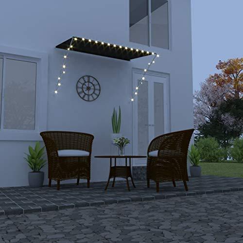 vidaXL Markise Einziehbar mit LED Handbetrieben Balkonmarkise Sonnenschutz Windschutz Beschattung Terrasse Garten Außen Rollo 200x150cm Anthrazit