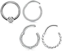 QWALIT Cartilage Earrings Hoop 16G Helix Daith Tragus Piercing Jewelry Stainless Steel CBR Hinged Clicker Septum Ring CZ Sleeper Hoop Earrings