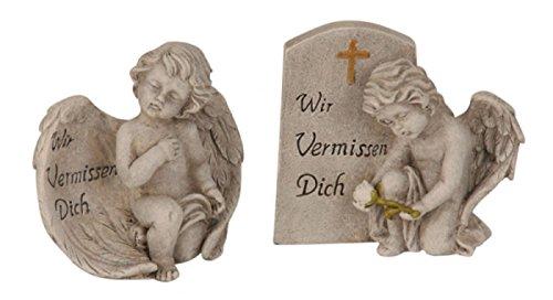 Trauer-Shop Engel Figuren Paar Wir vermissen Dich. 10,5cm. 2 Modelle, 2 Stück