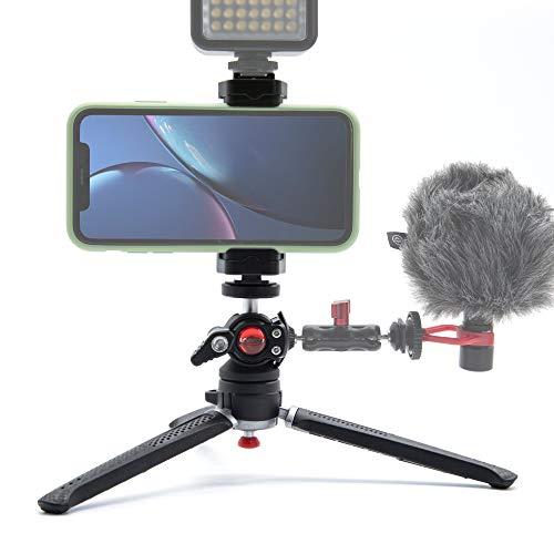 Lammcou Mini trípode de cámara, Tripod portátil liviano con 2 segmentos y cabezal de bola completamente giratorio y soporte para teléfono celular con trípode de zapata de flash