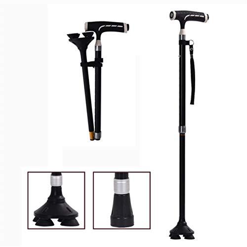 GJNWRQCY Opvouwbare wandelstok voor mannen, vrouwen, vierpoot en eenpoot Verwisselbaar, Comfortabele T-handgrepen
