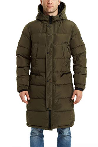Vince Camuto Men's Long Insulated Warm Winter Coat Parka, Olive, Large