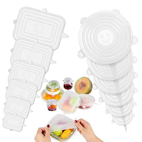 ZITFRI Coperchi in Silicone Estensibile 12 Pezzi per Alimenti Coperchio Silicone Riutilizzabile e Universale per Alimentare di BPA Free per Ciotole, Tazze, Pentole(Rettangolo+Rotondo)