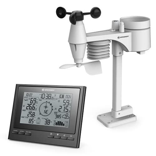 Bresser Wetterstation Funk mit Außensensor 7-in-1 Wetter-Center ClimateScout mit Profi-Außensensor, schwarz