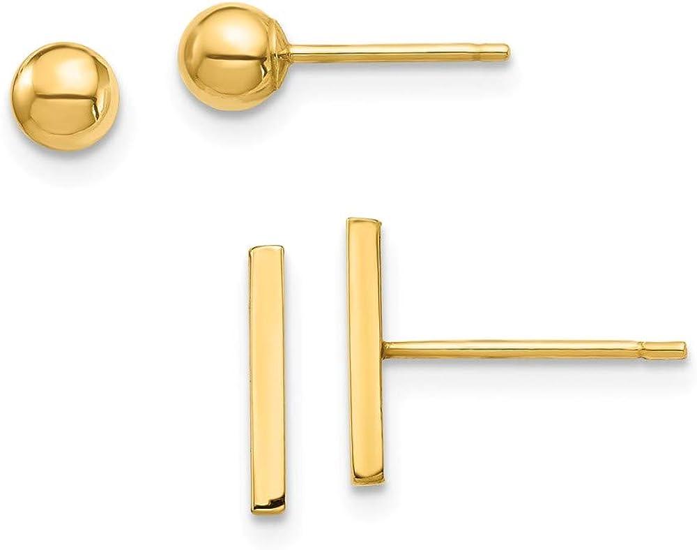 14K Yellow Gold Bar and Ball Post Earrings Set