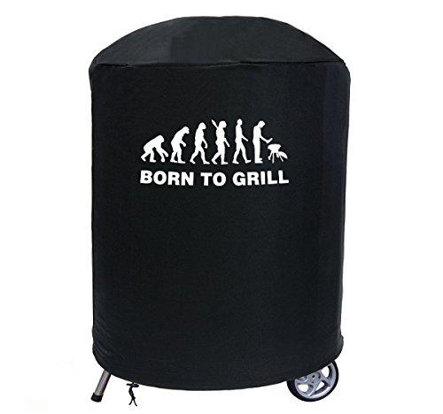 Ferocity Delux Kugelgrill Grill-Abdeckung GrillAbdeckhaube Top Qualität Wasserdichter BBQ Schutz Outdoor Grill Garten Terrasse Rund (59-69 cm x 90 cm) Born to Grill [084]