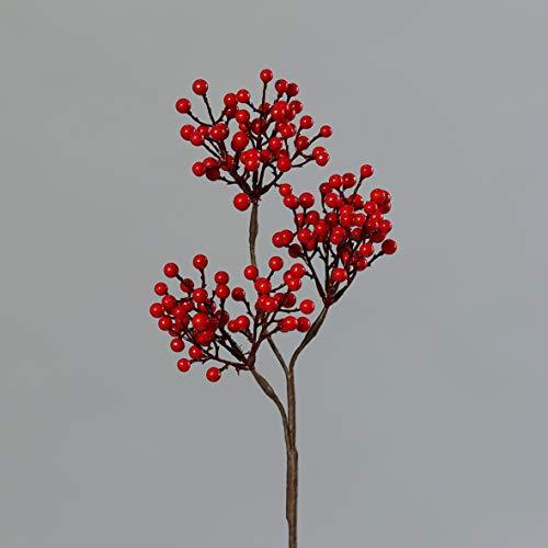 mucplants Künstlicher Beerenzweig Rot Höhe 39 cm Kunstzweig Kunstast Dekoast Dekozweig Kunstpflanze