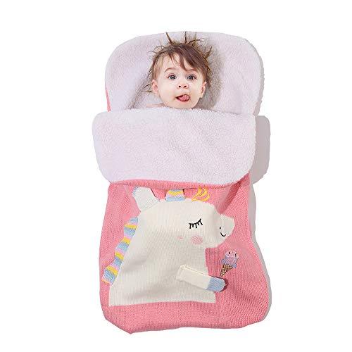 Baronhong pasgeborenen baby eenhoorn wrap babydeken, wol knit swaddle Kids slaapzak kinderwagen wrap slaapzakken