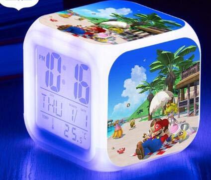 TYWFIOAV LED Despertador Reloj de 7 Colores Cambio Reloj Digital Reloj de Mesa para niños