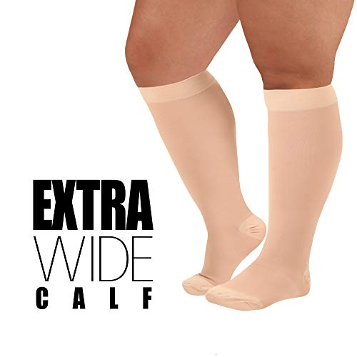 Made in The USA- XXL Opaque Compression Socks, Knee-Hi - Firm Medical Support Hose - Closed Toe, 20-30 mmHg Graduated Compression Stockings (Size: 2XL, Beige) Support Stockings for Men and Woman