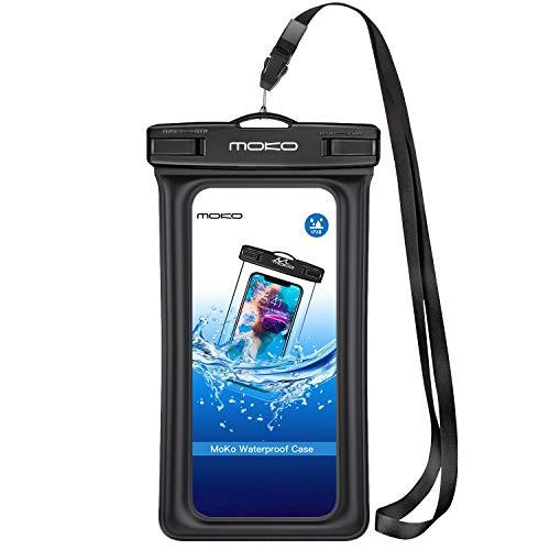 MoKo Funda Impermeable Flotable con Brazalete y Correa de Cuello para iPhone 12/12 mini/12 Pro/7/7 Plus/6s/ 6s Plus/Galaxy S10 S10 Plus S10e/Samsung S2 y Smartphone 5.7'' - IPX8 Certificado, Negro