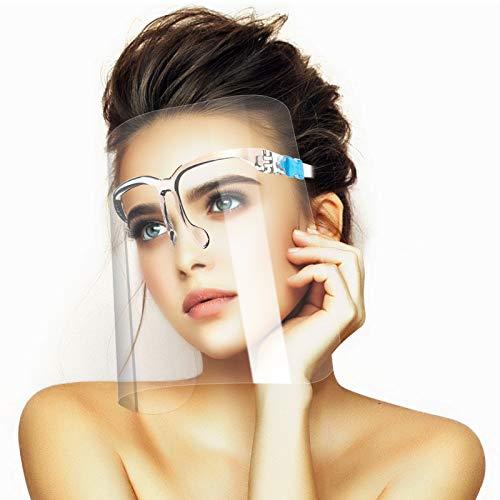 U-Kiss Protectores faciales Protectores faciales transparentes Protectores faciales protectores para adultos Máscara protectora Protege los ojos nariz y boca (10 protectores faciales y 10 gafas)