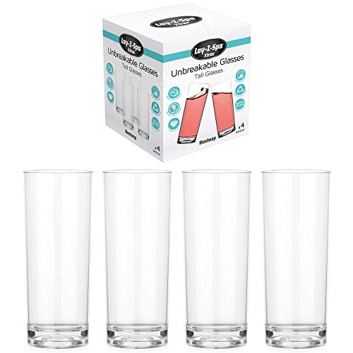 Lay Z Spa BWA0009 Premium Tumblers Virtually Unbreakable Ultra Clear Glasses Reusable and Dishwasher Safe Ideal for Hot Tubs Pools Camping and Picnics 340 milliliters Transparent Set of 4