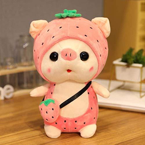 FGBV R 25 / 35cm Kawai Plüsch Schwein Tragen Sie einen Hut Transformation Plüschtier Puppe Weiche Kissen Pelz Puppe Baby Spielzeug 35 cm_Strawberry_China Manmiao