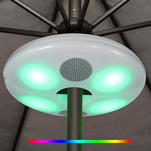 Luce per Ombrellone da Esterno, Luci per Ombrellone a LED con Altoparlante Bluetooth, Lampada Wireless Impermeabile IP65 con 7 Cambi di Colore, USB Ricaricabile per Patio Esterno