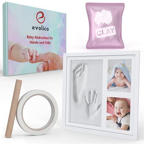 EVOLICO Gipsabdruck Baby Hand und Fuß - Innovativer Gips für den perfekten Abdruck - Handabdruck Baby mit edlem Bilderrahmen - Baby Handabdruck und Fußabdruck - Perfektes Abdruckset Baby Geschenk