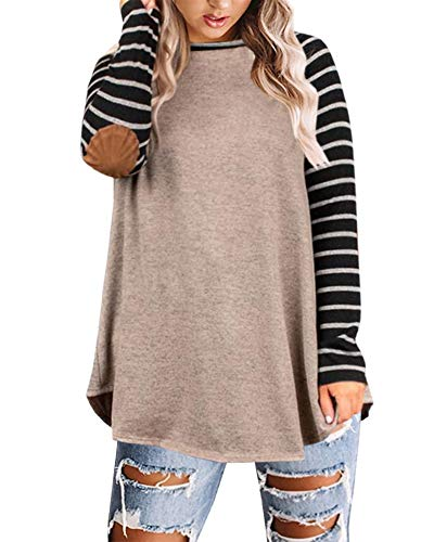 Yskkt Womens Plus Size Raglan Striped Shirts Elbow Patch Long Sleeve Casual Tunic Tops Khaki