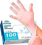 100 guantes de vinilo L sin polvo, sin látex, hipoalergénicos, certificados CE transparentes según EN455 y EN374 desechables