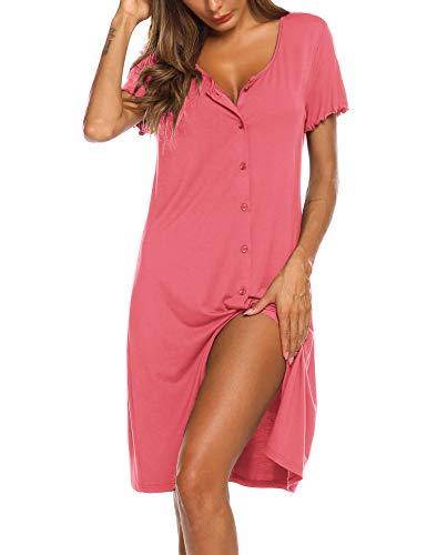 Ekouaer Damen Nachthemd Kurzarm Schlafshirt V-Neck Knopfleiste Nachtwäsche Leuchtend Rosa M