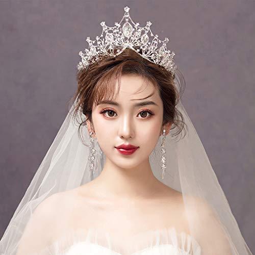 ZKHD Göttin Crown Tiara Braut dreiteilig mit Schleier, Krone + Halskette + Ohrringe, Hochzeit Haarspange Kaltfarbe Hochzeitszubehör (weiß oder Gold),B1
