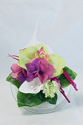 Pequeño centro de mesa con orquídea + hortensia-decoración de mesa con flores artificiales
