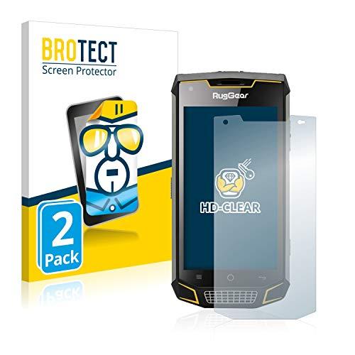 BROTECT Schutzfolie kompatibel mit RugGear RG740 (2 Stück) klare Bildschirmschutz-Folie