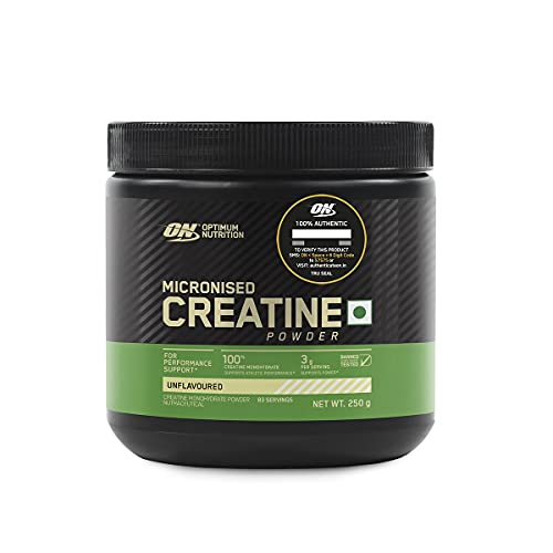 Optimum Nutrition (ON) Micronized Creatine Powder - 250 Gram, 83 Serves, 3g of 100% Creatine Monohydrate per serve, Supports Athletic Performance & Power, Unflavored.