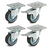 50mm Set di 4 rotelle pivotanti con attacco a piastra (gomma termoplastica, 2 con freno / 2 pivotanti, modello n. 6020/30050CK-x2 + 2)