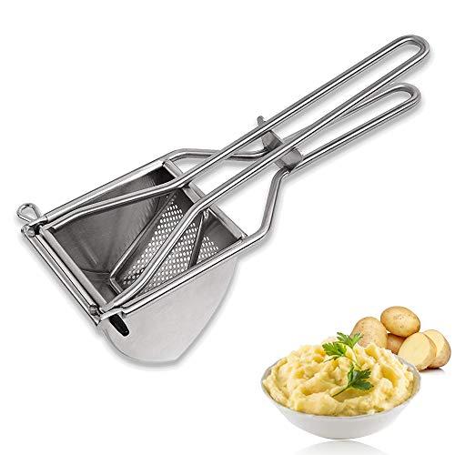 SANBLOGAN Kartoffelpresse Edelstahl, Kartoffelpresse Triangel Kartoffelstampfer Multifunktionale Saftpressen Kartoffelquetsche für Kartoffelbrei, Baby Flauschige Rezepte, Gemüsebrei, Püree Obst Maker