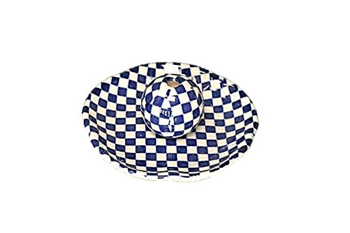 経験バルセロナシュリンク市松 青 花形香皿 お香立て 日本製