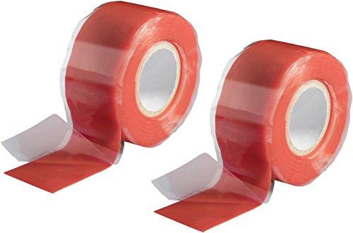 Poppstar - Nastro in silicone 2x 3m autoagglomerante, fascia in silicone per riparazione nastro, nastro isolante e nastro di tenuta (acqua, aria), largo 25 mm, rosso