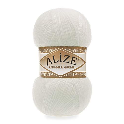 5 ovillos de lana Alize Angora Gold de 100 g con 20% lana, paquete de 500 gramos (crudo 62)